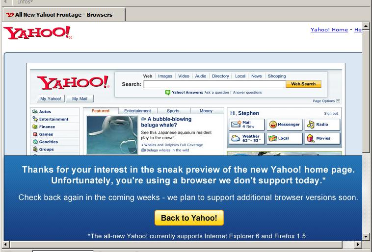 New Yahoo! Homepage in Bon Echo